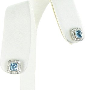 David Yurman Color Classics Earrings Studs 0.21cts Diamonds Blue Topaz Sterling