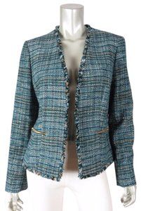 Anne Klein Bolero Fringed Tweed Mettalic Green Blazer