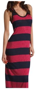 Raspberry & Dark Navy Maxi Dress by Joie