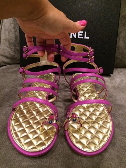 Chanel Jewel Toe Ring Strappy Pink Sandals Image 10
