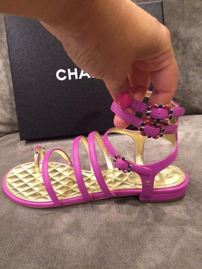 Chanel Jewel Toe Ring Strappy Pink Sandals Image 11
