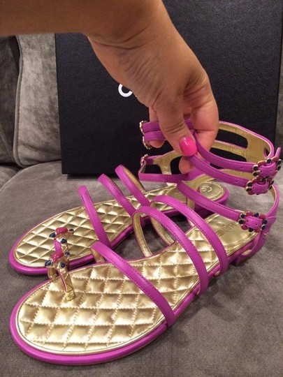 Chanel Jewel Toe Ring Strappy Pink Sandals Image 2