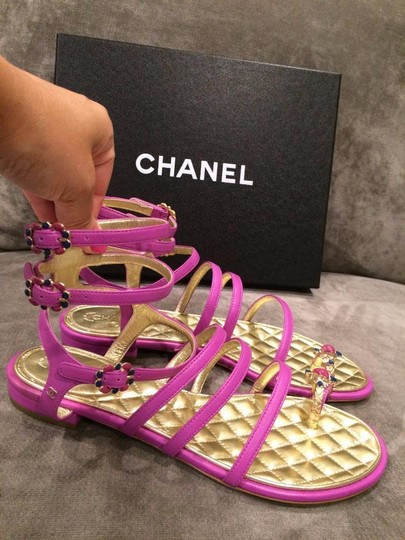 Chanel Jewel Toe Ring Strappy Pink Sandals Image 3