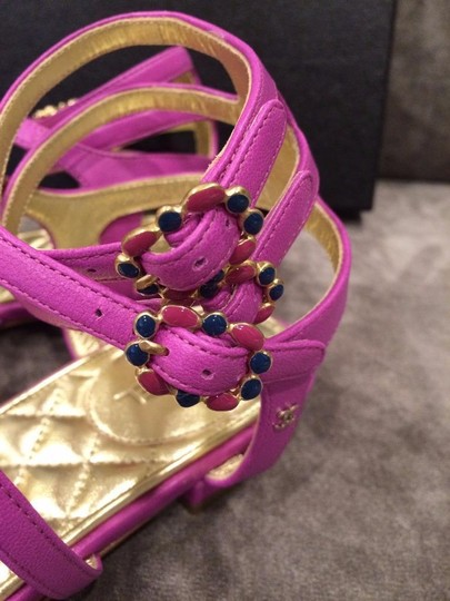 Chanel Jewel Toe Ring Strappy Pink Sandals Image 6