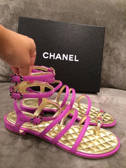Chanel Jewel Toe Ring Strappy Pink Sandals Image 7