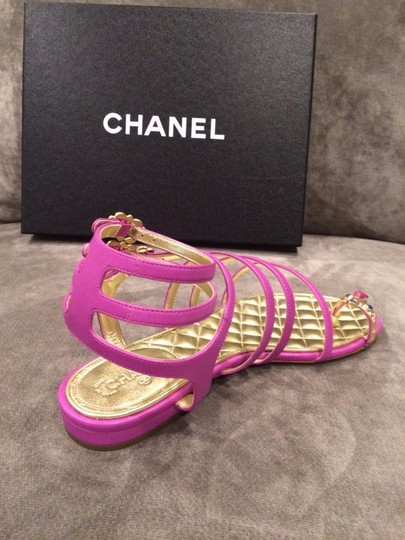 Chanel Jewel Toe Ring Strappy Pink Sandals Image 8
