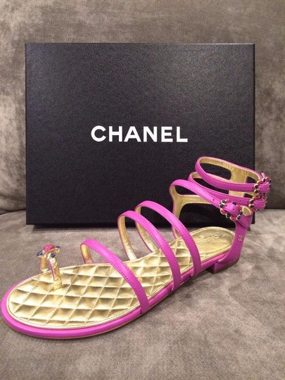 Chanel Jewel Toe Ring Strappy Pink Sandals Image 9