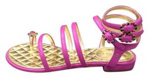 Chanel Jewel Toe Ring Strappy Pink Sandals