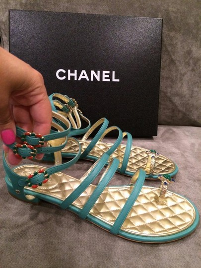 Chanel Jewel Toe Ring Strappy Green Sandals Image 2