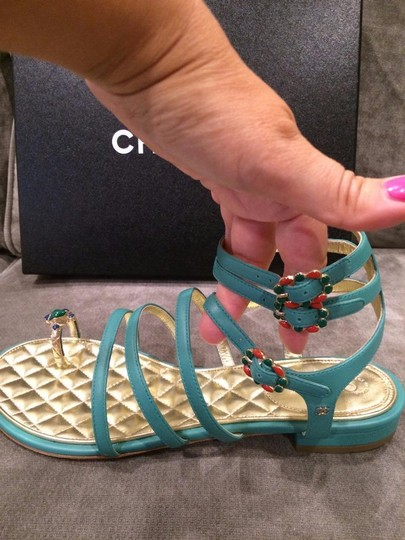 Chanel Jewel Toe Ring Strappy Green Sandals Image 8