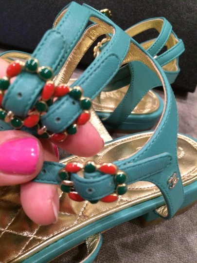 Chanel Jewel Toe Ring Strappy Green Sandals Image 1