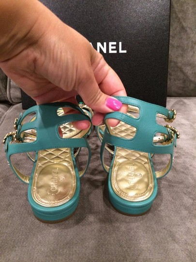 Chanel Jewel Toe Ring Strappy Green Sandals Image 4