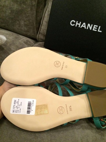 Chanel Jewel Toe Ring Strappy Green Sandals Image 6