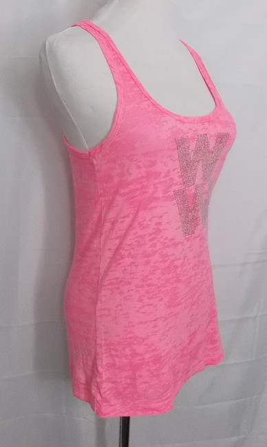 Rubee Couture Burnout Rhinestones Neon Top Pink Image 1