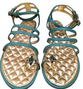 Chanel Jewel Toe Ring Strappy Green Sandals