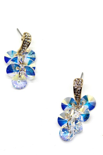 Ocean Fashion Shining pendant swarovski crystal gold earrings Image 1