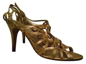 Nine West Strappy High Heels Leather Gold Formal
