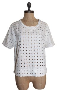 Banana Republic Embroidered Eyelet Summer Floral Top WHITE