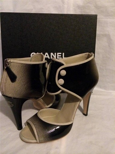 Chanel Bootie Ombre Patent Leather Open Toe Black Pumps Image 1