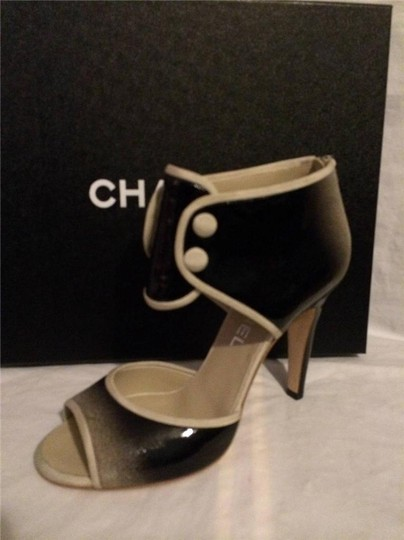 Chanel Bootie Ombre Patent Leather Open Toe Black Pumps Image 9