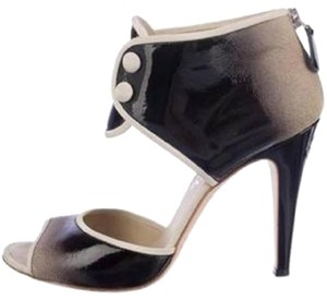 Chanel Bootie Ombre Patent Leather Open Toe Black Pumps
