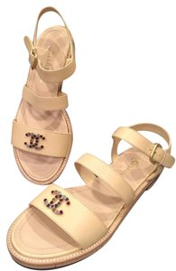 Chanel Jewel Toe Ring Strappy Beige Sandals