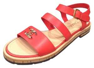 Chanel Jewel Toe Ring Strappy Red Sandals