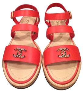 Chanel Jewel Strappy Red Sandals
