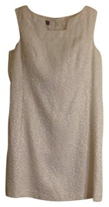 Nine West short dress white with gold shimmer woven into fabric on Tradesy