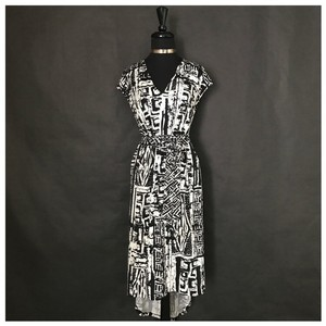 Black & White Maxi Dress by Ice Asymmetrical Plus Size