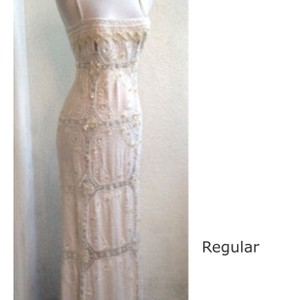 Valentino Off White Lace and Sequins and Beaded with Mother Of Pearl Shells Stunning Workmanship. Vintage Wedding Dress Size 6 (S)