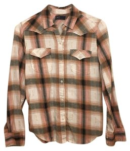 Gap Plaid Checkered Button Down Shirt Pink