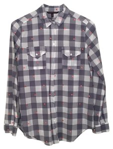 Victoria's Secret Vs Checkered Hearts Plaid Button Down Shirt Blue, White, Pink