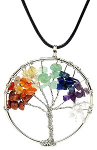 Other Silver Tree Of Life Rainbow Beaded Pendant Necklace