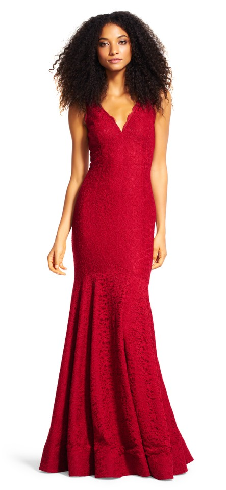 Adrianna Papell Crimson Red Sleeveless V-neck Lace Trumpet Gown Long ...
