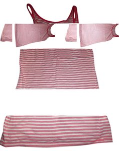 Old Navy Striped Medium Top Pink & White