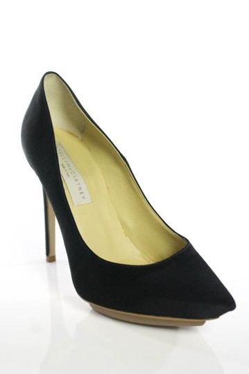 Stella McCartney Satin Pointed Toe High Heels Celebrity Owned Runway Black Pumps Image 2