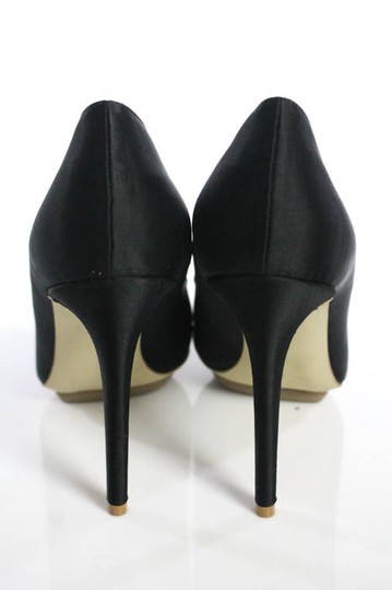 Stella McCartney Satin Pointed Toe High Heels Celebrity Owned Runway Black Pumps Image 3