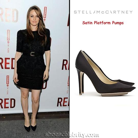 Stella McCartney Satin Pointed Toe High Heels Celebrity Owned Runway Black Pumps Image 5