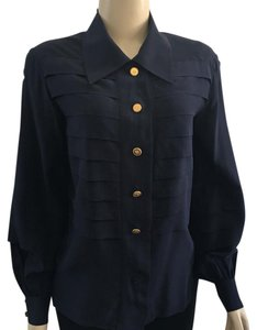 Chanel Button Down Shirt Navy