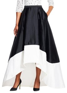 Adrianna Papell Color-blocking Hi Lo Evening Maxi Skirt Black & Ivory