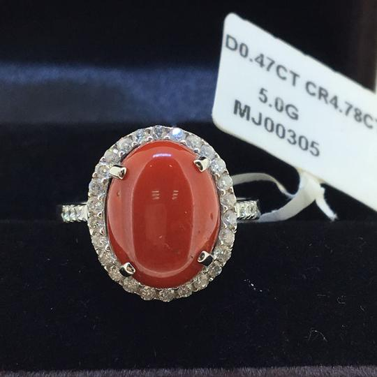 Other 18K White Gold Red Coral Diamonds Ring Image 1