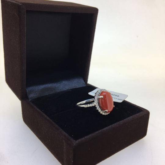 Other 18K White Gold Red Coral Diamonds Ring Image 2
