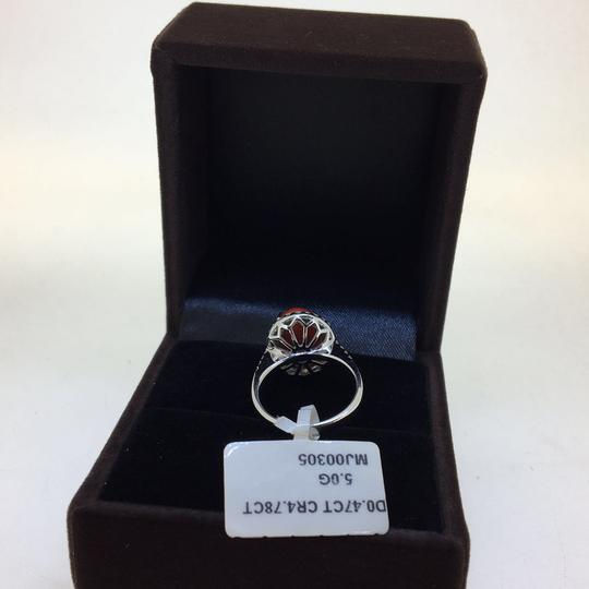 Other 18K White Gold Red Coral Diamonds Ring Image 4