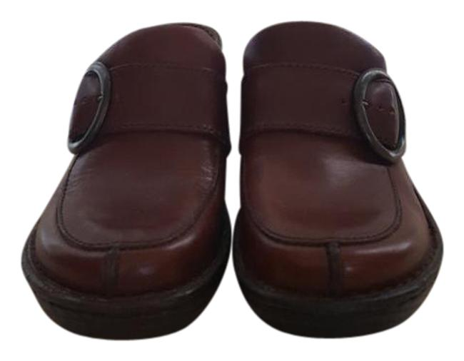 Item - Brown Leather with Buckles Mules/Slides Size US 7 Regular (M, B)