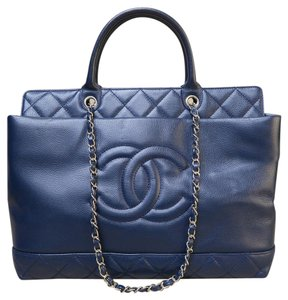 Chanel Timeless Caviar Satchel in navy blue