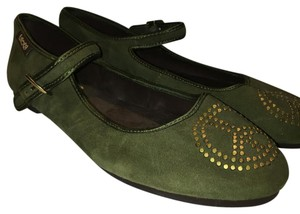 Lucky Brand Studded Peace Sign Leather Ballerina Olive Flats
