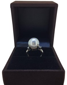Other PT900 Platinum Pearl Diamonds Ring UK 6.5