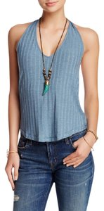 Free People V-neck Sleeveless Ribbed Knit Strappy Back Top Jade