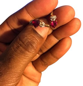10 K Ruby and Diamond necklace with matching ring 10K Gold Ruby and Diamonds